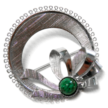 "Vintage Sterling Silver Wreath Brooch Malachite Stone Pin 1.5"" - $18.50"