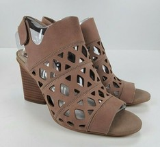 VINCE CAMUTO $97 Cutout Nubuck Heeled Sandals- Deverly Brown Size 8 Medium  - $37.62