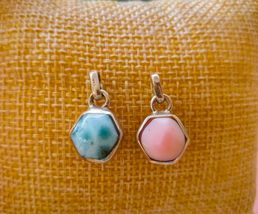 Reversible 100% Natural Blue Larimar Earrings w/ Conch Certified Silver 925 - $20.20