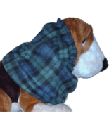 Navy Green Black Plaid Fleece Dog Snood by Howlin Hounds Spaniel Afghan ... - $11.50