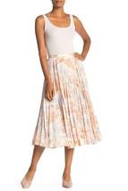 VINCE. Marine Garden Pleated Skirt Tangerine ( 6 ) - $114.21