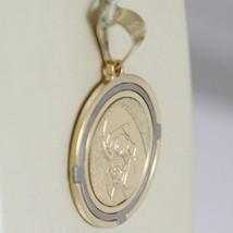 PENDENTIF MÉDAILLE OR JAUNE BLANC 750 18K, MADONE, Vierge Marie Et Jésus image 2