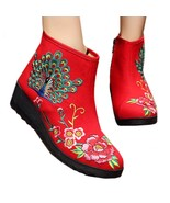 Peacock Vintage Beijing Cloth Shoes Embroidered Boots red 35 - $37.99