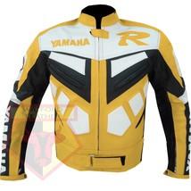 YAMAHA R YELLOW MOTORCYCLE MOTORBIKE BIKERS ARMOURED COWHIDE LEATHER JACKET - $194.99