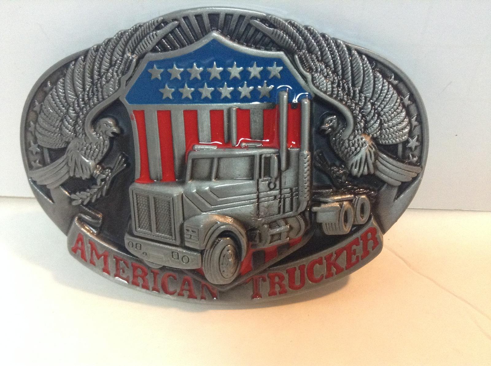 American Trucker Belt Buckle NEW Pewter Finish Patriotic Eagle