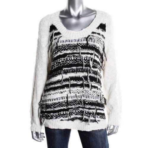 Townsen Black & White Fringed Wool Pullover Sweater Multiple Sizes