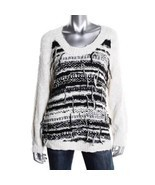 Townsen Black & White Fringed Wool Pullover Sweater Multiple Sizes - $1.424,75 MXN
