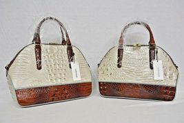 NWT Brahmin Hudson Satchel/Shoulder Bag in Linen Tri-Texture Beige, Pecan & Teal image 9