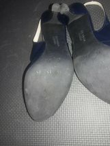 Franco Sarto Open Toe Leather spike Heels Womens Shoes Size 7.5 Navy Blue image 9