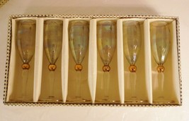 Set of 6 Mid Century Modern Etched Champagne Flutes 2 oz Wine Shot Glass... - $46.74