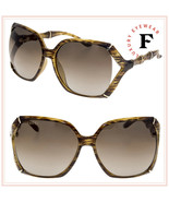 GUCCI Bamboo GG3508S Translucent Brown Horn Gold Gradient Sunglasses 350... - $316.80