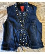 New V Cristina Studded Jean Vest Tie Front Size S - $14.16