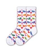 Colorful Birds K Bell Trouser Crew Socks White New Women Size 9-11 Tweet... - $7.95