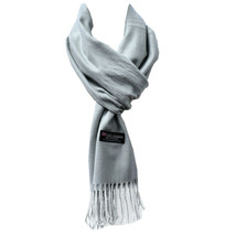 Men Women Solid Gray Scarf 100% Cashmere Scotland Scarves - $16.69