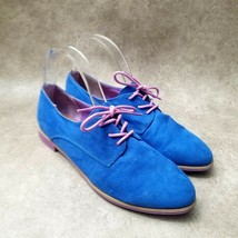 Mossimo Womens Sz 9 M Blue Suede Purple Sole and Lace Oxford Flat - $29.99