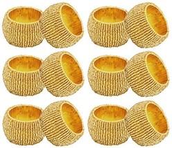SKAVIJ Decoration Party Gold Napkin Rings Set of 12 Handmade Round for W... - $18.41