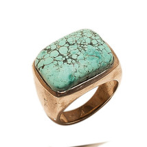 Ring Turquoise Jewelry 925 Sterling Silver Beautiful India Vintage MB447DP - $257.45