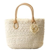 Fashion Vacation Item/Sweet Crochet Flower Straw Hand Bag/Beach Bag/White