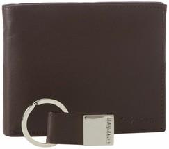 Calvin Klein Ck Men's Leather Bifold Id Wallet Key Chain Set Rfid 79220 image 2