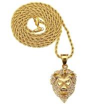 Lion Head Necklace For Men Gold Lion Pendant Necklace Titanium Jewelry A... - $25.50+