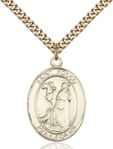 14K Gold Filled St. Rocco Pendant 1 x 3/4 inch with 24 inch Chain - $135.80