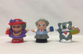 Fisher Price Little People red hat Grandma cell phone Grandpa cat with f... - $6.00