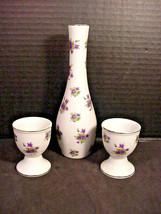 Lefton Vintage Purple Violets Breakfast Set 2 Egg Cups & Bud Vase 3 Pc Lot - $24.26