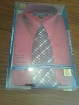 Mens Croft & Barrow Dress Shirt  w/ Handcrafted Tie  15 1/2-16 34/35 RED - $18.69