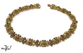 "Shimmer Yellow and Gold Rhinestone 15"" Choker - Vintage Necklace - Hey Viv - $22.40"