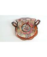 Collectible Fenton Carnival Glass Butterflies Two Handle Bon Bon Bowl 1930s - $17.82