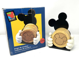 Disney Mickey Mouse Head Ears Wood Cork Coasters with Holder - $46.74