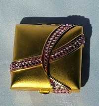 Estee Lauder Lucidity Pink Ribbon Breast Cancer Rhinestone Compact Trans... - $59.39