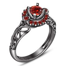 Halo Round Cut Red Garnet Black Gold Finish 925 Silver Bridal Engagement... - $78.87