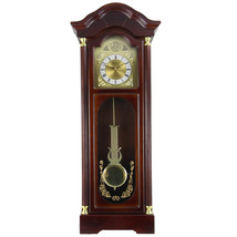 Bedford Clock Collection 33 Antique Cherry Oak Finish Chiming Wall Clock... - $88.75