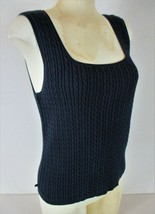 RALPH LAUREN womens Large sleeveless navy CABLE KNIT stretch sweater ves... - $19.99