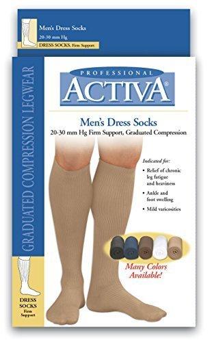 Activa 20-30 mmHg Men's Firm Support Dress Socks, Black, Small