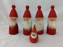 """Vintage Sweden Wood Red Elves Santa Figurine Doll Hemslojden Boras 4.5"""" - $99.95"""