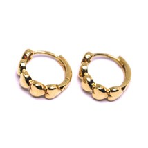 18K ROSE GOLD ROUND SMALL CIRCLE HOOP HEARTS ROW EARRINGS DIAMETER 12mm x 4mm image 2