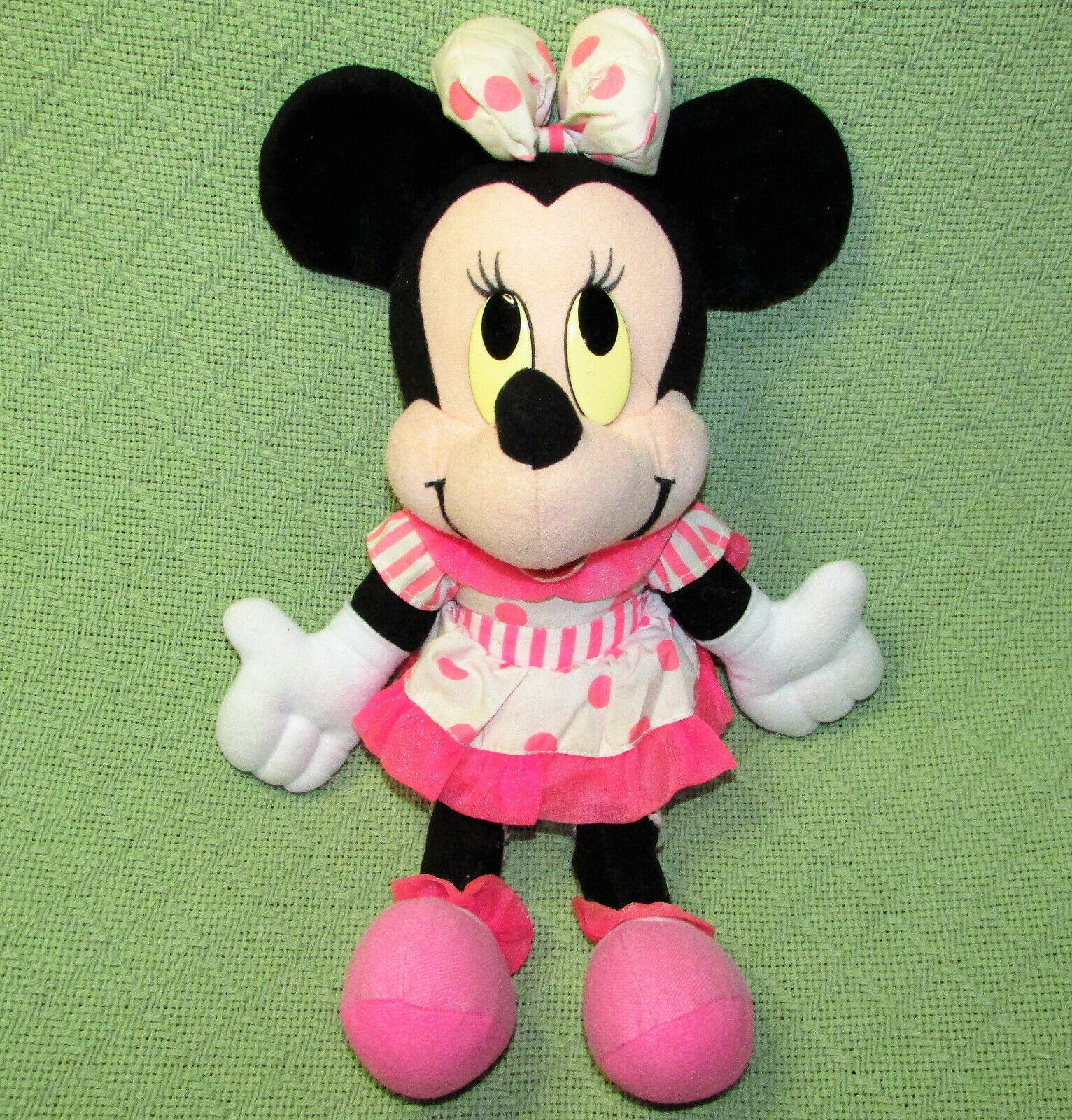 "Primary image for VINTAGE DISNEY 15"" MINNIE MOUSE PLUSH DOLL PINK POLKA DOT STRIPED DRESS STUFFED"