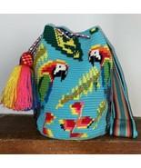 Authentic 100% Wayuu Mochila Colombian Bag Large Size special parrots su... - $150.00