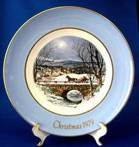 Christmas Plate Christmas 1979 Wedgwood Sleigh Ride Blue Border Avon Eng... - $18.00
