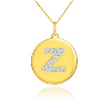 "10k Yellow Gold Letter ""Z"" Initial Diamond Disc Charm Pendant Necklace - $158.26+"