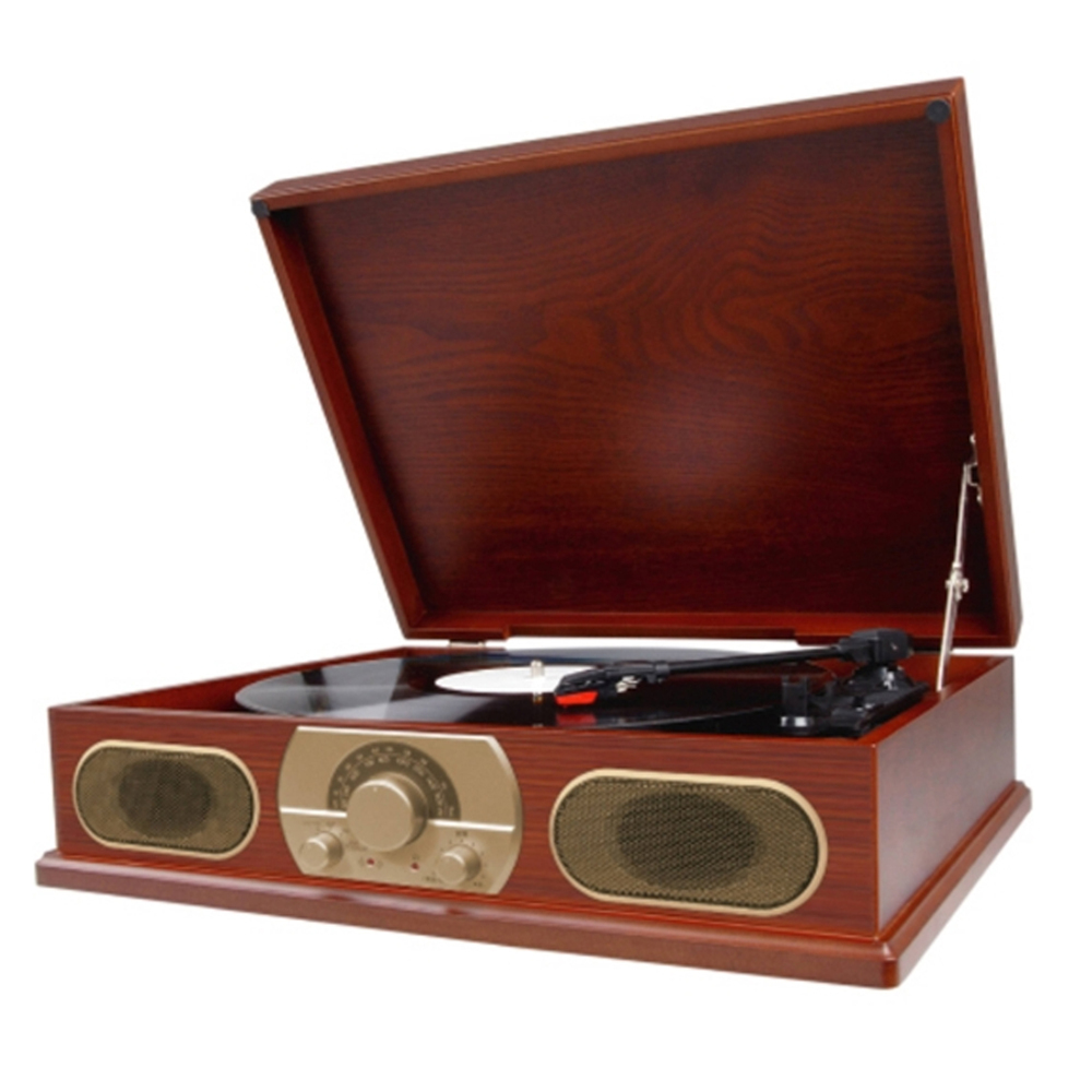 Studebaker Wooden Turntable with AM/FM Radio and Cassette Player
