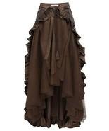 Steampunk Skirt for Women Victorian Ruffled Bustle Skirt/Cape L Brown - $29.89