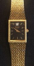 BULUVA Quartz Women's Gold Tone Wristwatch - New Battery - Lovely! Black... - $35.37