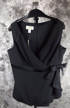 New Talbots Crepe Blouse Top Size 14 Black Sleeveless Crossover - $23.74