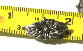 FLOWER AND LEAVES WIDE TOP 3 HOLE FINE PEWTER SPACER BAR image 3