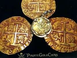 COLOMBIA FLEET SHIPWRECK PENDANT 2 ESCUDOS PIRATE GOLD COINS JEWELRY NEC... - $5,950.00