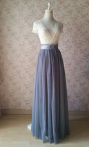 GREY Long Maxi Tulle Skirt Women Misty Grey Full Wedding Bridal Bridesmaid Skirt