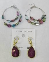 Earrings Charter Club Gold Tone Teardrop Dangle & Double Hoop Abalone Type 2 Lot - $9.85